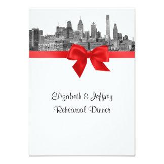 Philadelphia Skyline Etch BW Red V Rehearsal 5x7 Paper Invitation Card