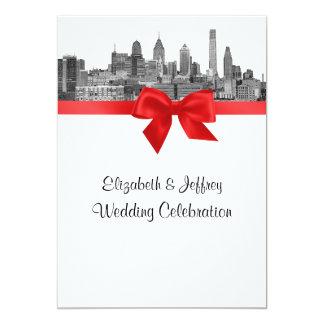 Philadelphia Skyline Etch BW Red V Wedding Invites
