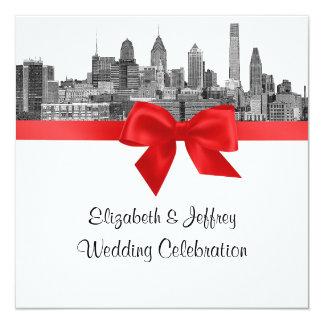 Philadelphia Skyline Etch BW Red Wedding Card