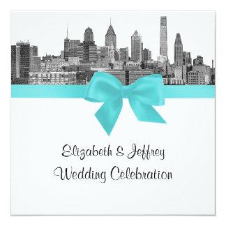 Philadelphia Skyline Etch BW Robin Egg Blu Wedding Custom Invite