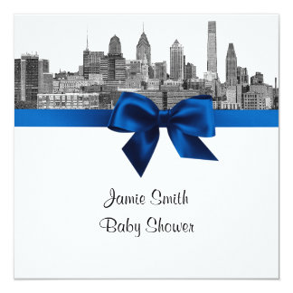 Philadelphia Skyline Etch BW Royal Blu Baby Shower Personalized Announcement