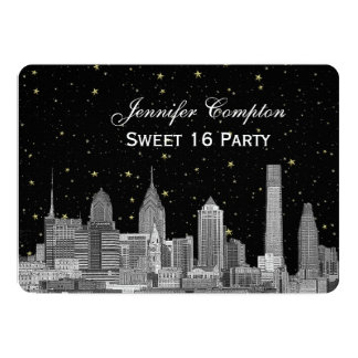 Philadelphia Skyline Etch Starry DIY BG Sweet 16 H Card