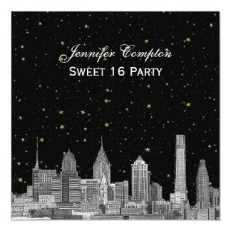 Philadelphia Skyline Etch Starry DIY SQ Sweet 16 Card