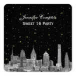 Philadelphia Skyline Etch Starry DIY SQ Sweet 16 5.25x5.25 Square Paper Invitation Card