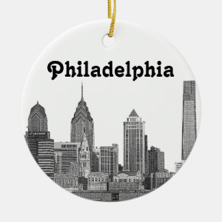 Philadelphia Skyline Etched Ceramic Ornament