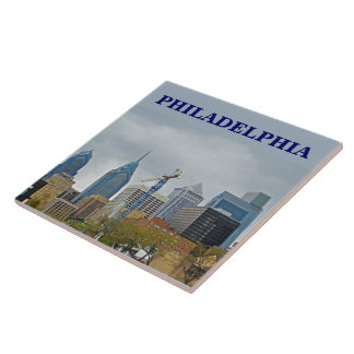 Philadelphia Skyline from the River Walk Large Square Tile