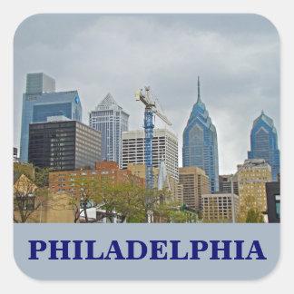 Philadelphia Skyline from the River Walk Square Sticker