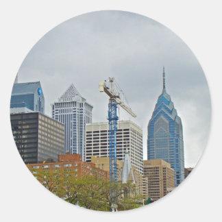 Philadelphia Skyline from the River Walk Classic Round Sticker