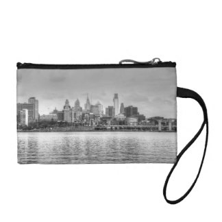 Philadelphia skyline in black and white coin wallets