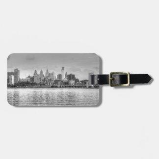 Philadelphia skyline in black and white bag tag