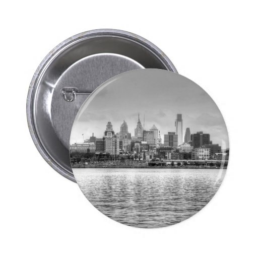 Philadelphia skyline in black and white buttons
