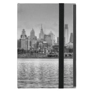Philadelphia skyline in black and white case for iPad mini