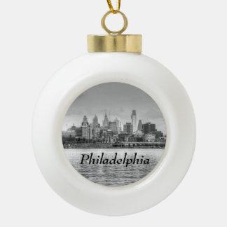 Philadelphia skyline in black and white ceramic ball christmas ornament