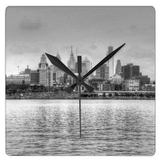 Philadelphia skyline in black and white wall clock