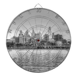 Philadelphia skyline in black and white dart boards