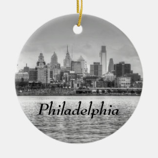 Philadelphia skyline in black and white Double-Sided ceramic round christmas ornament