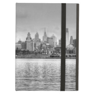 Philadelphia skyline in black and white iPad air covers