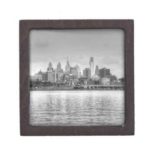 Philadelphia skyline in black and white jewelry box