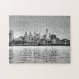Philadelphia skyline in black and white jigsaw puzzle