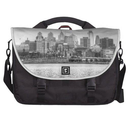 Philadelphia skyline in black and white laptop computer bag
