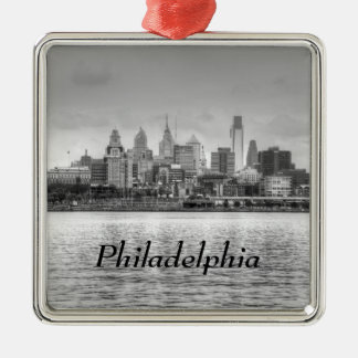 Philadelphia skyline in black and white metal ornament