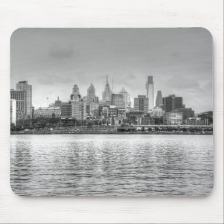 Philadelphia skyline in black and white mouse pad