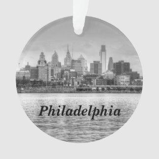 Philadelphia skyline in black and white ornament