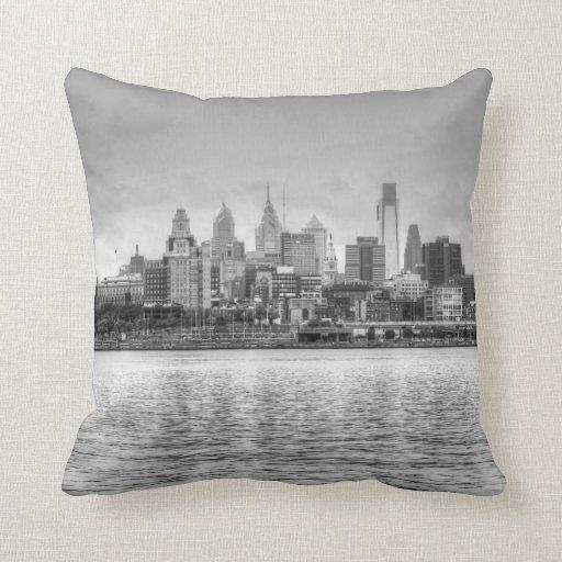 Philadelphia skyline in black and white throw pillows