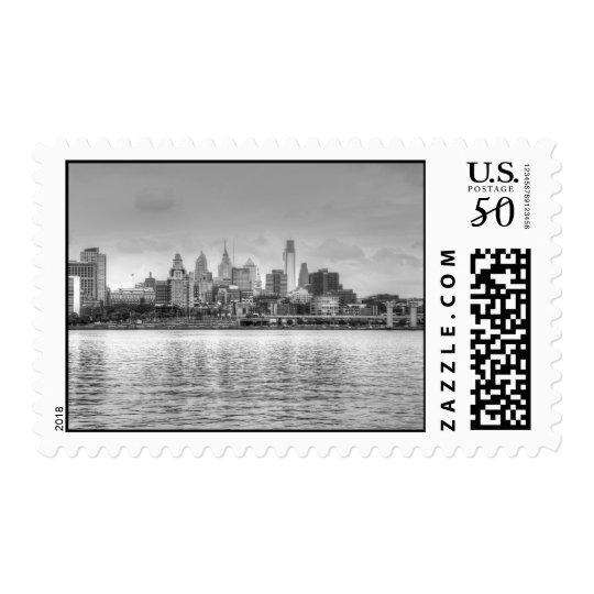 Philadelphia skyline in black and white postage