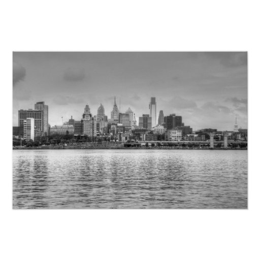 Philadelphia skyline in black and white posters