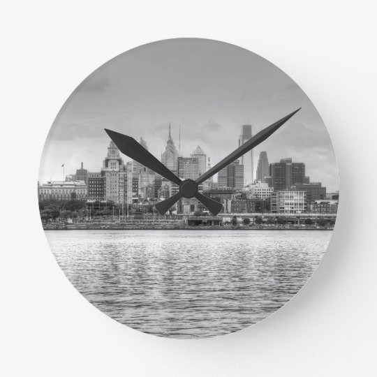 Philadelphia skyline in black and white round clock