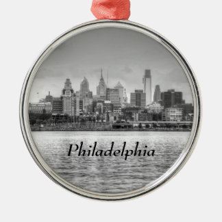 Philadelphia skyline in black and white round metal christmas ornament
