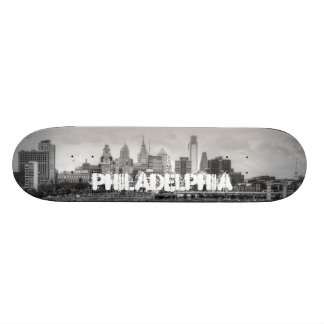 Philadelphia skyline in black and white skateboard