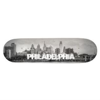 Philadelphia skyline in black and white skateboards