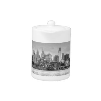 Philadelphia skyline in black and white teapot