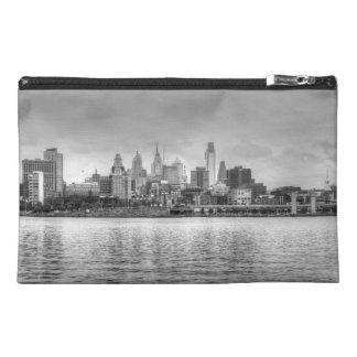 Philadelphia skyline in black and white travel accessory bag