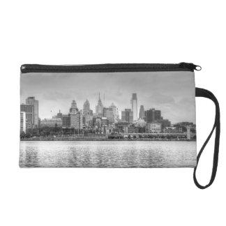 Philadelphia skyline in black and white wristlet