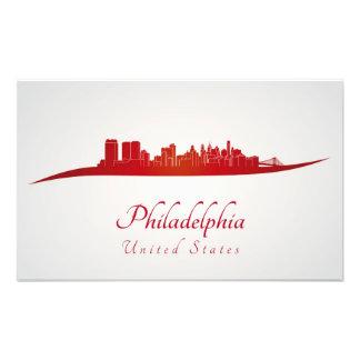Philadelphia skyline in red cojinete