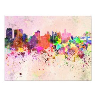 Philadelphia skyline in watercolor background art photo