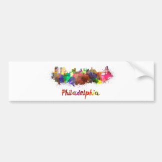 Philadelphia skyline in watercolor bumper sticker