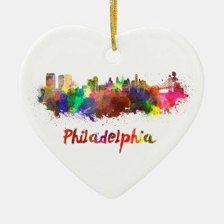 Philadelphia skyline in watercolor adorno de cerámica en forma de corazón