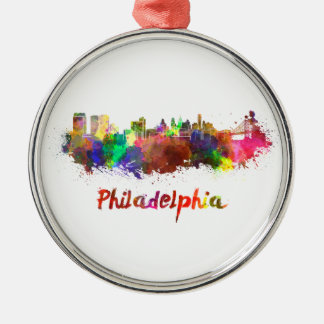 Philadelphia skyline in watercolor adorno redondo plateado
