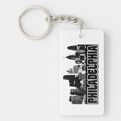 Philadelphia Skyline Single-Sided Rectangular Acrylic Keychain