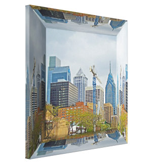 Philadelphia Skyline - Mirror Box Canvas Print