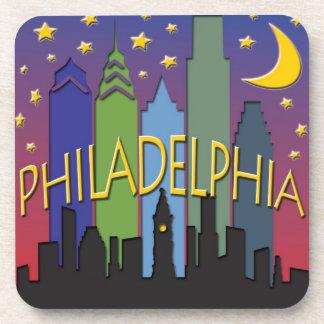 Philadelphia Skyline nightlife Beverage Coaster