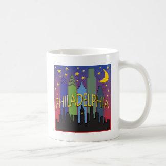 Philadelphia Skyline nightlife Mugs