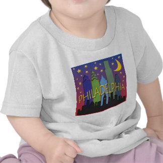Philadelphia Skyline nightlife Shirts