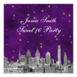Philadelphia Skyline Purple Gold Star Sweet 16 5.25x5.25 Square Paper Invitation Card
