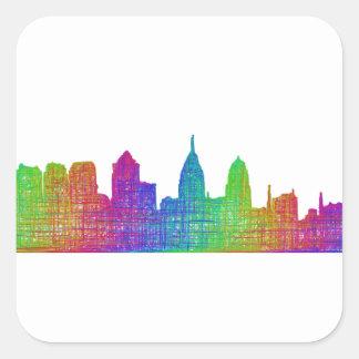 Philadelphia skyline square sticker