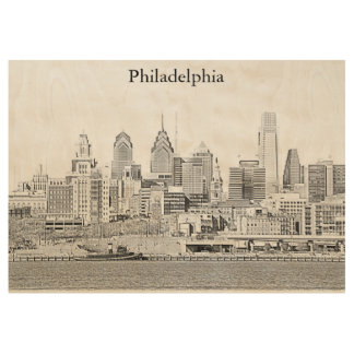 Philadelphia Skyline Wood Poster